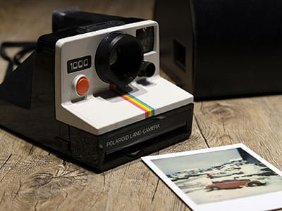 instant polaroid camera from the 1970s