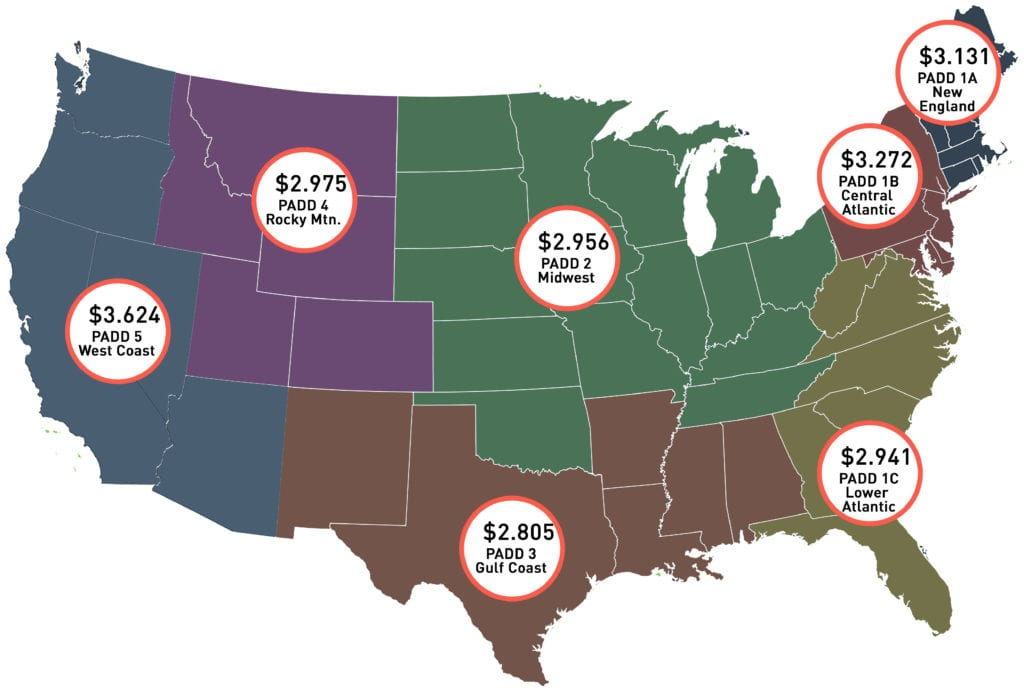 Map of gas and diesel prices in the US for July.