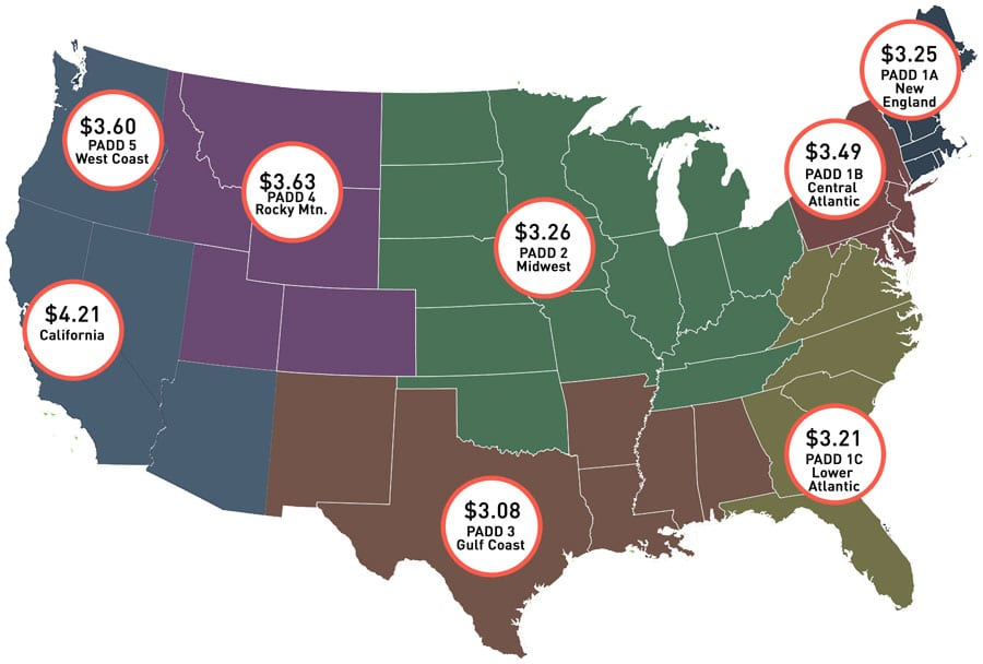 Average diesel fuel prices in the US as of July 19. 2021
